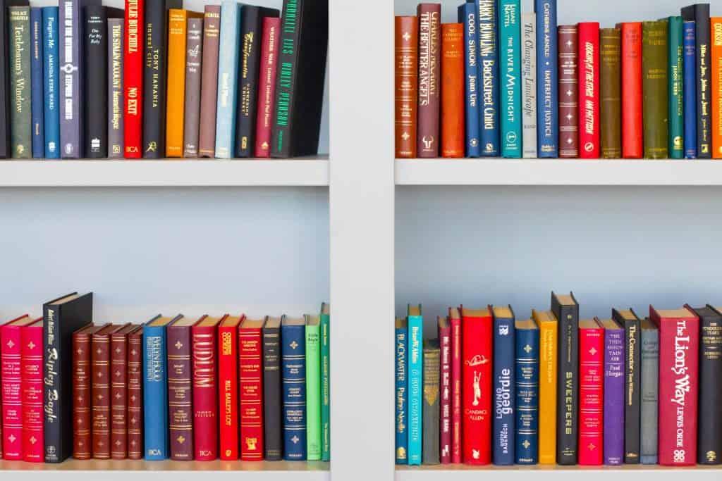 Imagem de uma estante de livros.