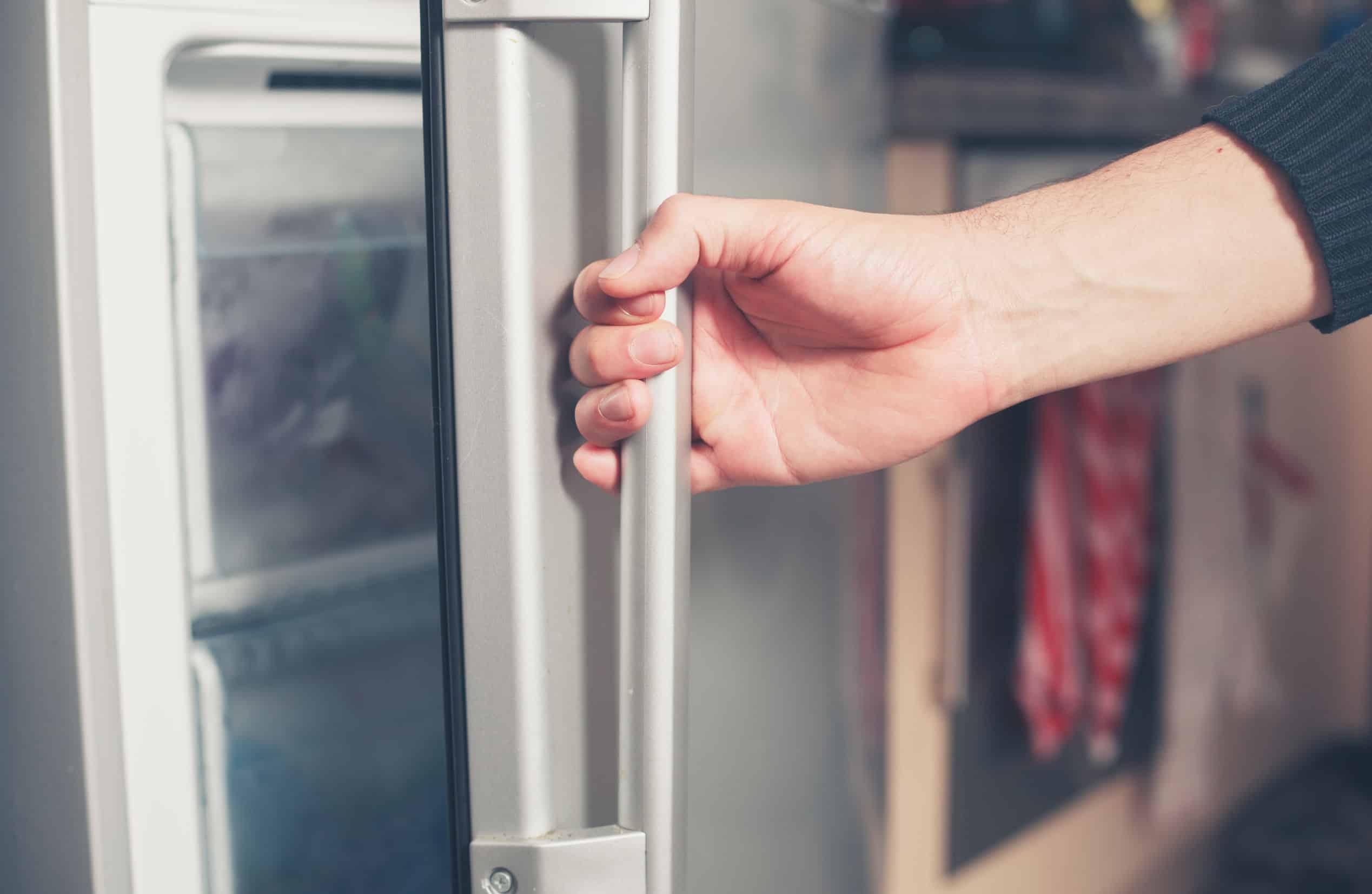 Imagem de pessoa abrindo porta de freezer.