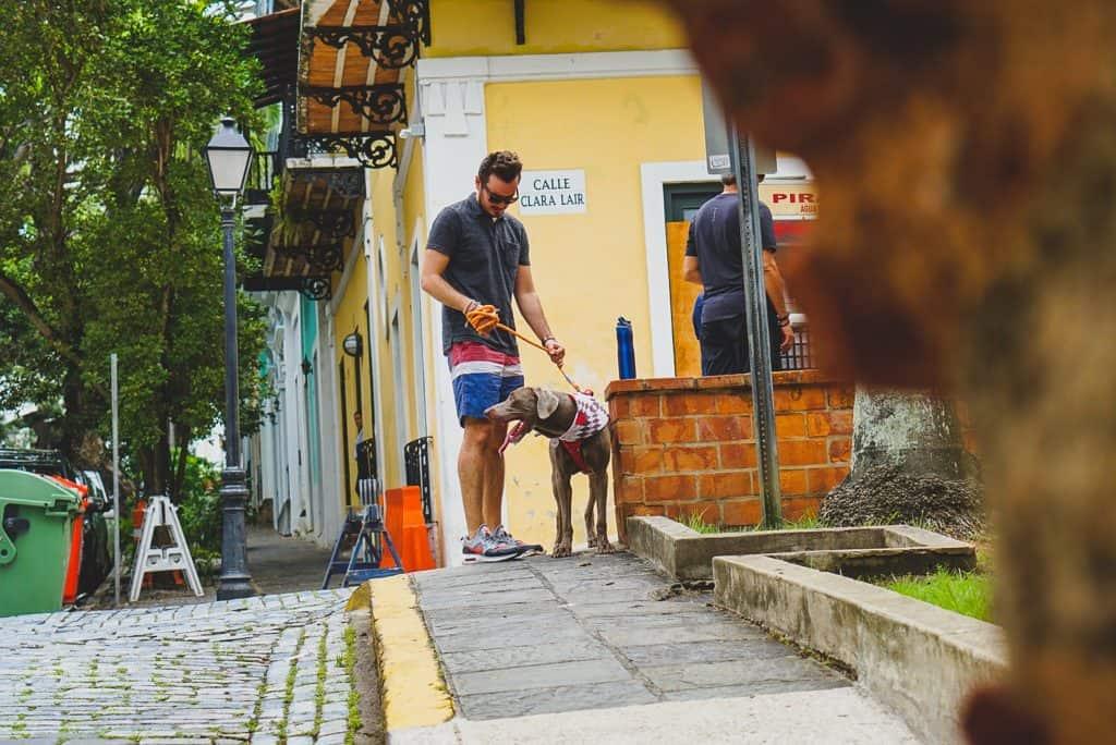 Imagem mostra um homem, de bermuda de banho, passeando com seu cachorro pela rua.