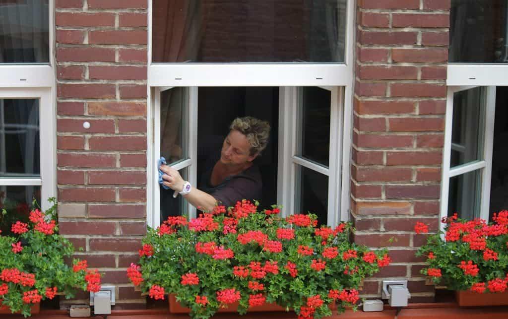Pelo dado de dentro, mulher limpa janela com auxílio de pano.