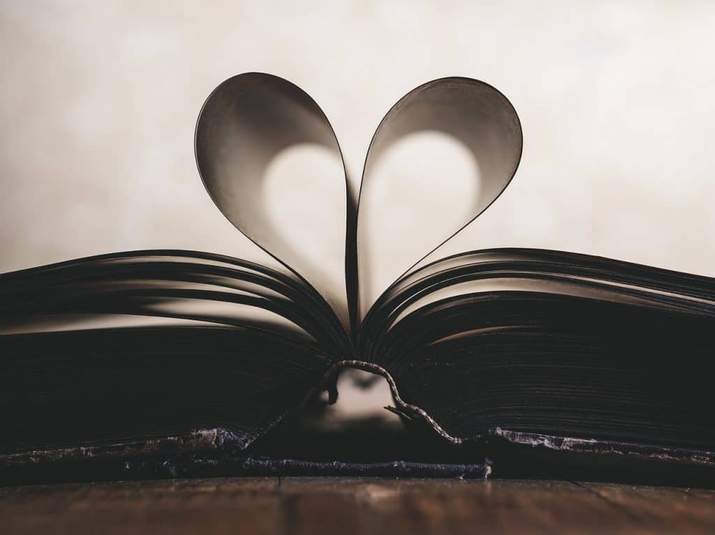 Imagem de livro com páginas formando um coração.