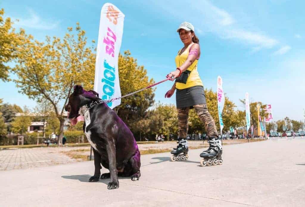 imagem de uma mulher patinando com um cachorro.