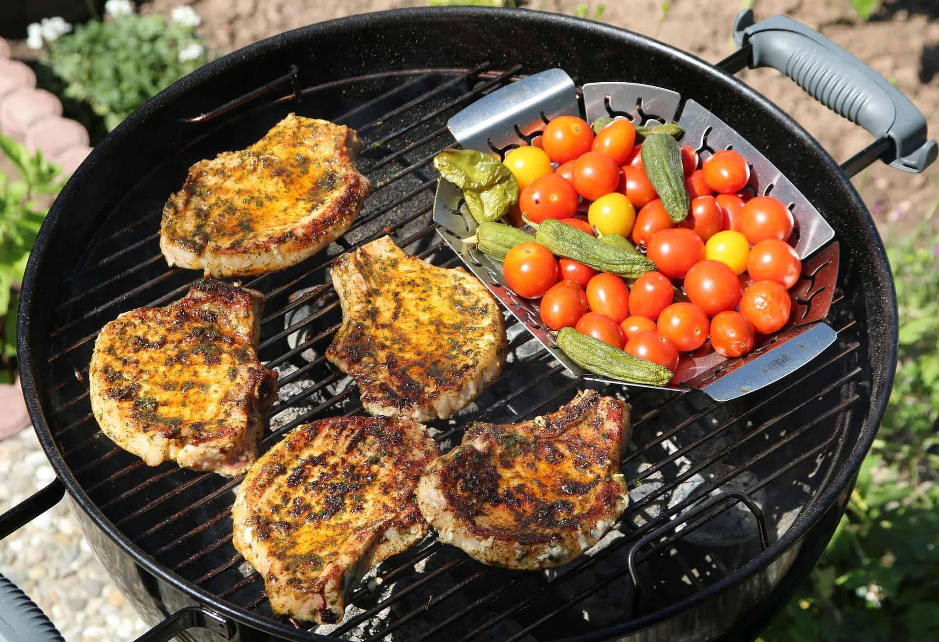 Uma churrasqueira sem fumaça grelhando pedaços de peito de frango e alguns legumes.