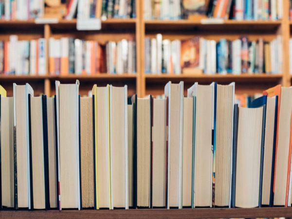 Imagem mostra, em primeiro plano, uma fileira de livros com o corte dianteiro à mostra; Em segundo plano, uma grande estante cheia de livros fecha o quadro.