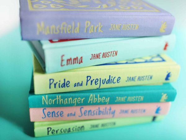 Imagem de livros de Jane Austen.