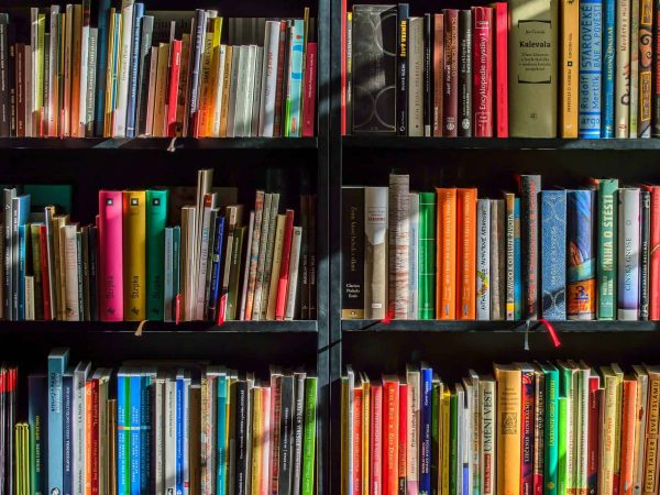 Livros em estante.
