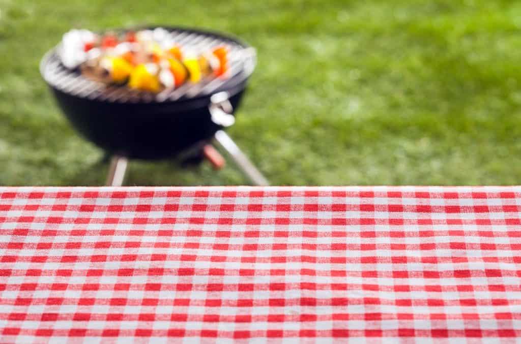 Uma churrasqueira sem fumaça no gramado, ao lado de uma mesa forrada com uma toalha quadriculada no design.