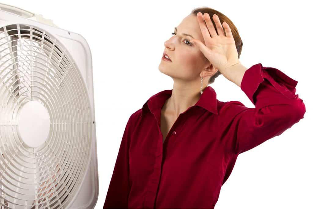 Na foto uma mulher em frente a um ventilador sorrindo.
