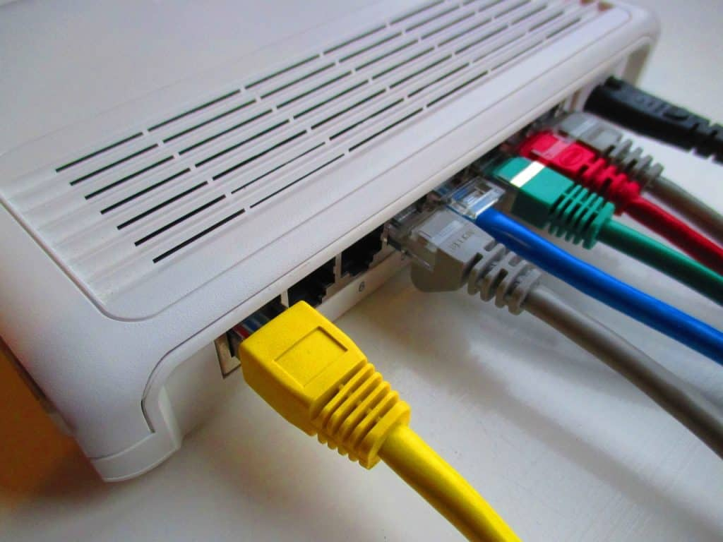 Image of router with emphasis on the outputs.