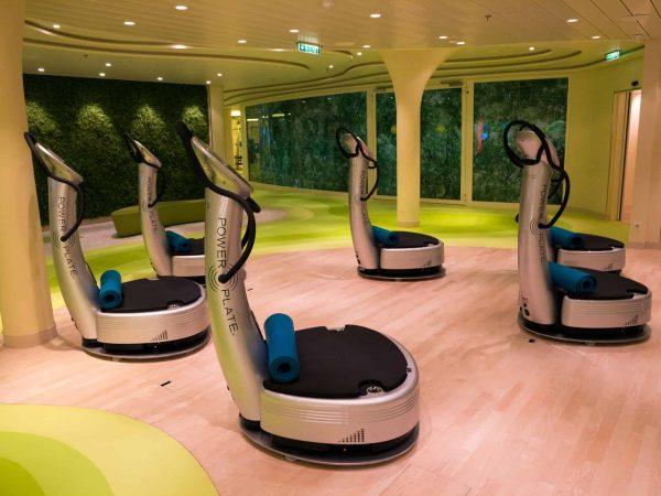 Na foto cinco plataformas vibratórias em uma sala de ginástica.