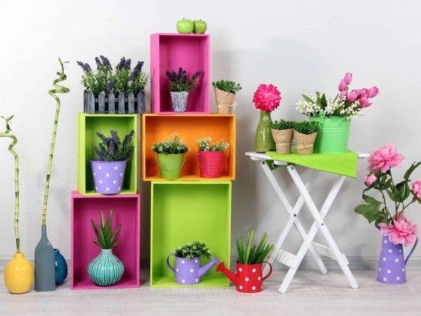 Na foto alguns nichos e uma mesa branca contendo vasos de flores coloridas.