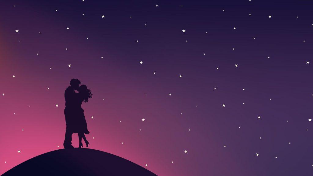 Ilustração de um casal se abraçando.