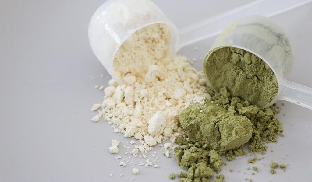 Imagem de scoops com Whey Protein.