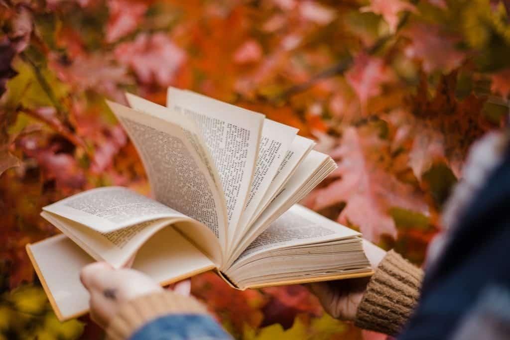 Em um cenário cercado por folhas, uma pessoa está folheando um livro.