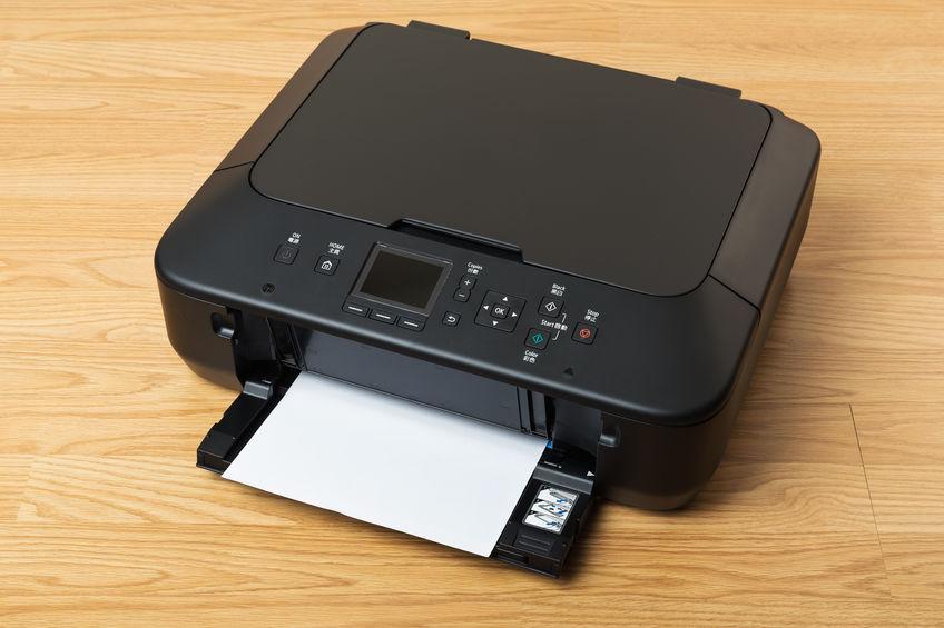 Detalhe de impressora Canon.