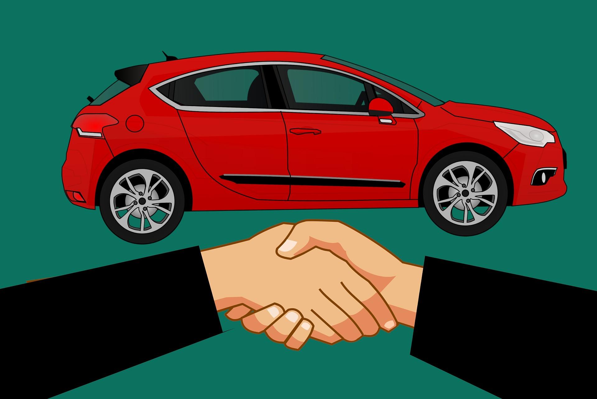 Imagem de um carro e duas pessoas dando as mãos como sinal de um acordo