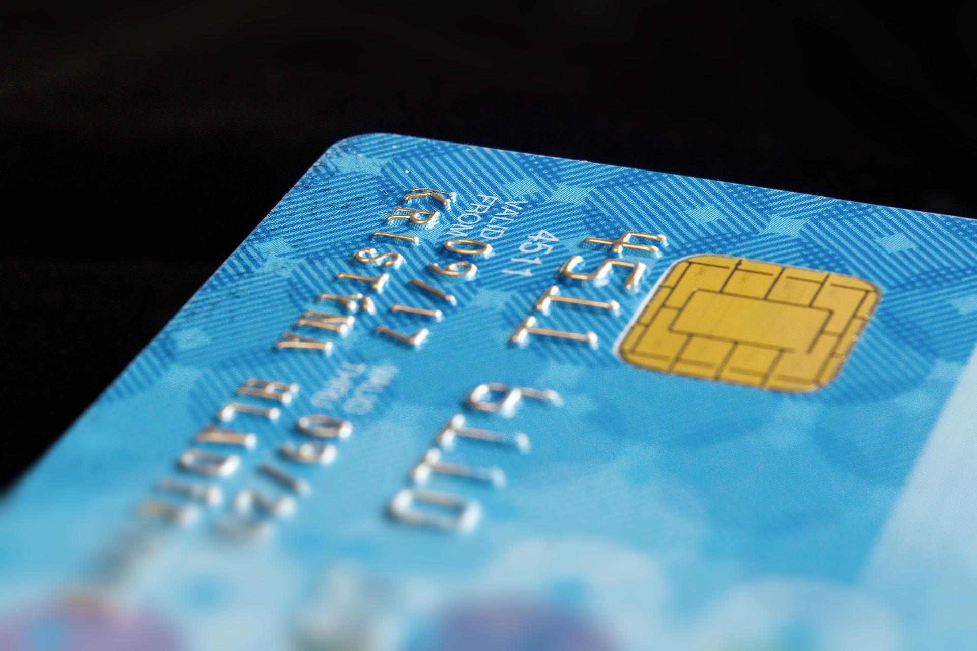 Detalhe de um cartão de crédito.