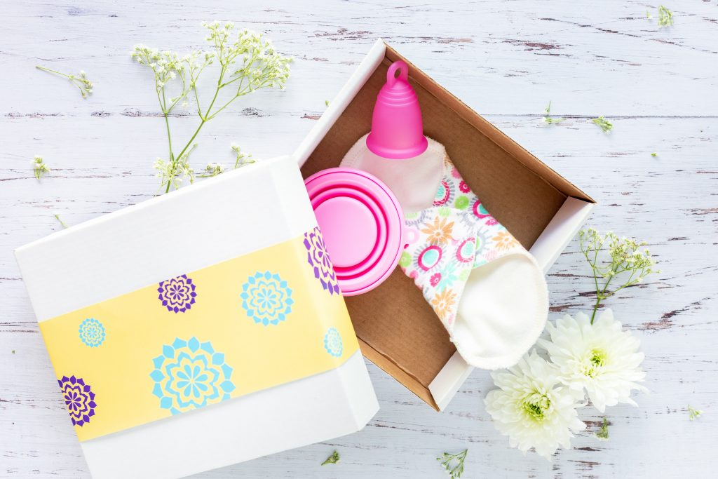 Imagem de coletor menstrual e absorvente ecológico