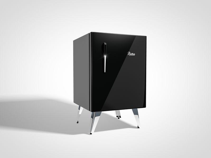 Mini geladeira preta.