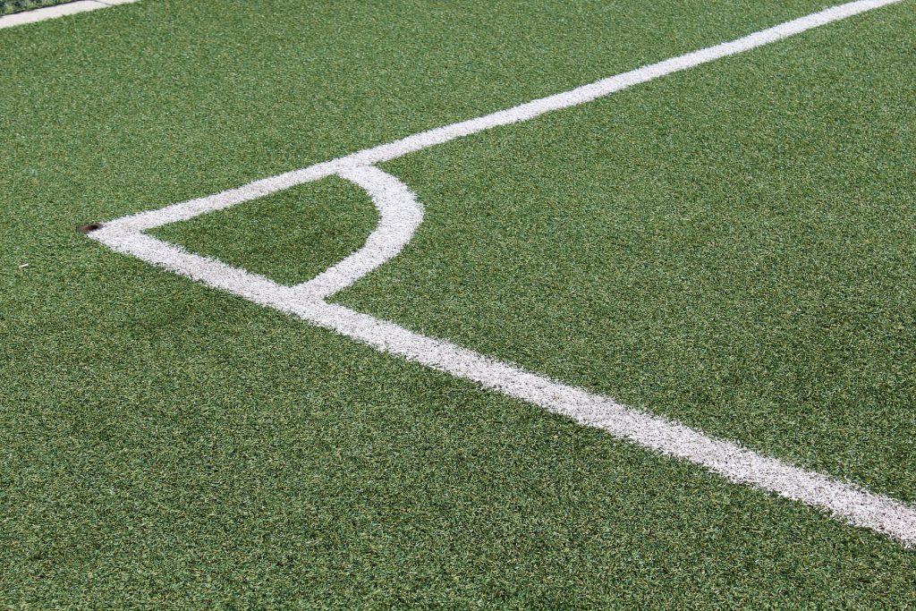 Detalhe de grama de um campo de futebol.