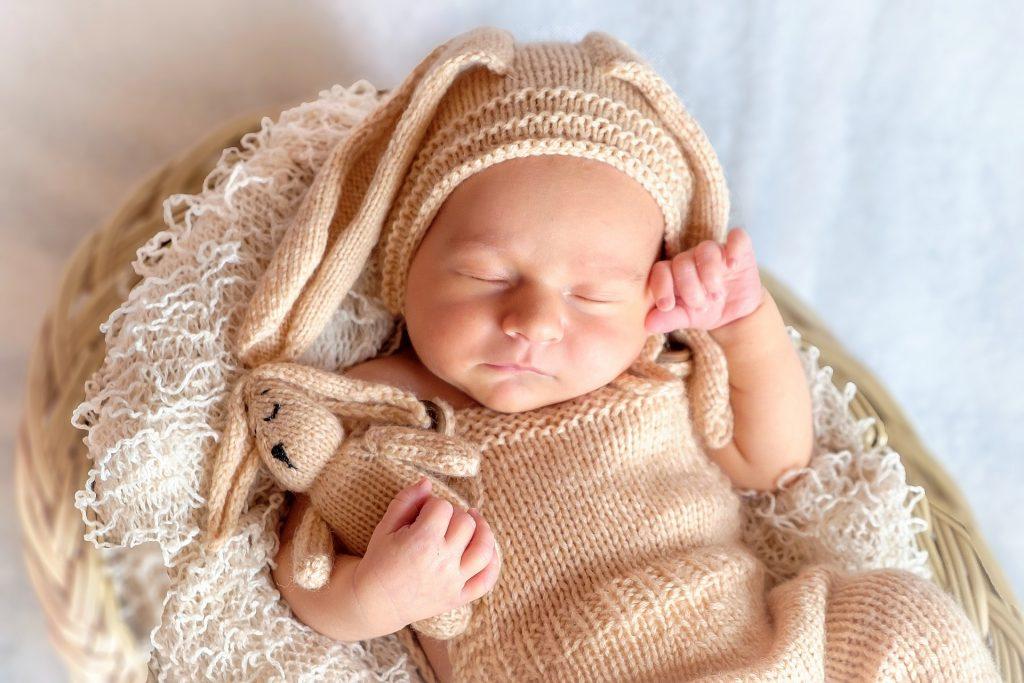 Imagem de um bebê dormindo abraçado a naninha.