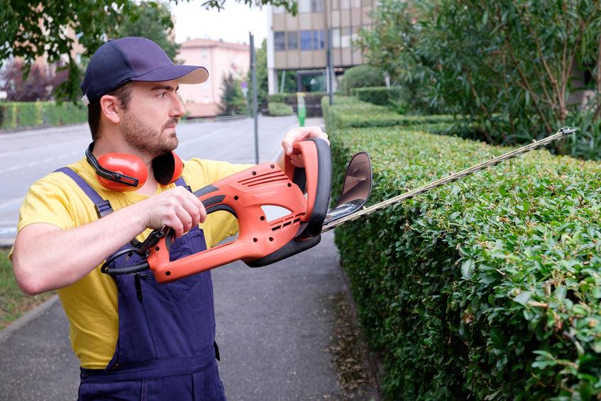 Imagem de um homem utilizando um aparador de cerca viva.