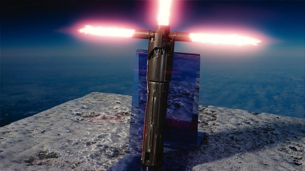Imagem de sabre de luz utilizado por Kylo Ren