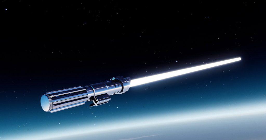Imagem de sabre de luz azul flutuando no espaço