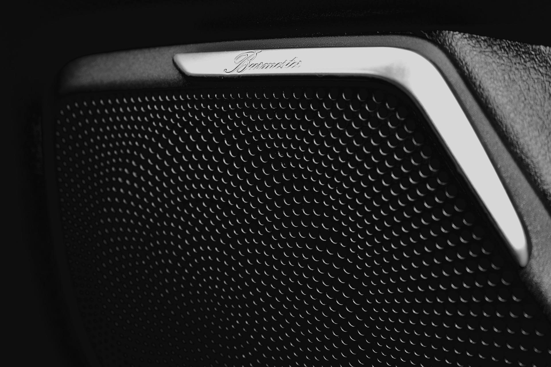 Imagem mostra um close de um alto falante instalado na porta de um carro.