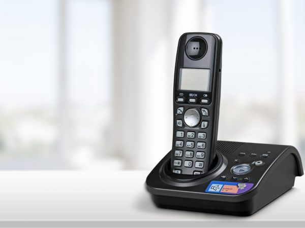 Imagem de um telefone sem fio com ramal.