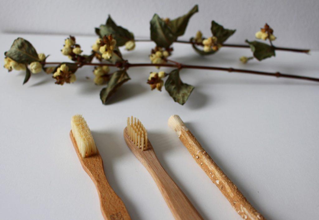 Imagem de três diferentes tipos de escovas de bambu