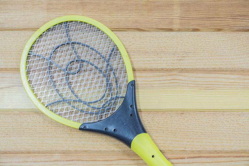 Na foto uma raquete elétrica em cima de uma superfície de madeira.