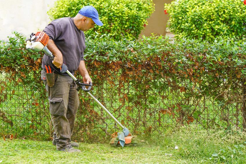 Imagem mostra um homem usando uma roçadeira lateral em um jardim.