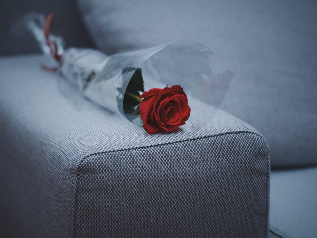 Imagem mostra um embrulho com um botão de uma rosa, apoiado sobre um braço de um sofá.