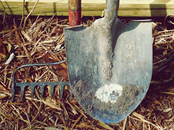 Imagem de rastelo e pá sobre grama seca