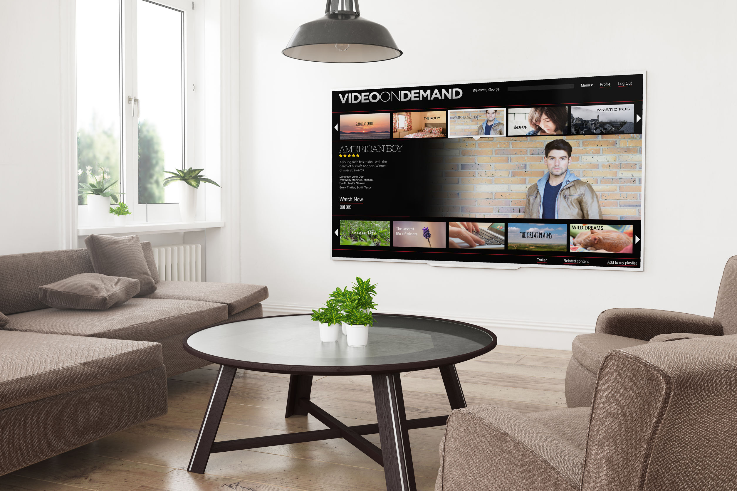 Sala de estar moderna com smart tv na parede.