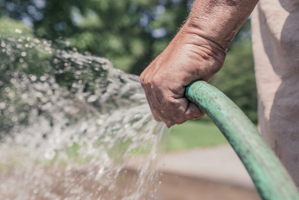 Uma pessoa usando uma mangueira para molhar um jardim.