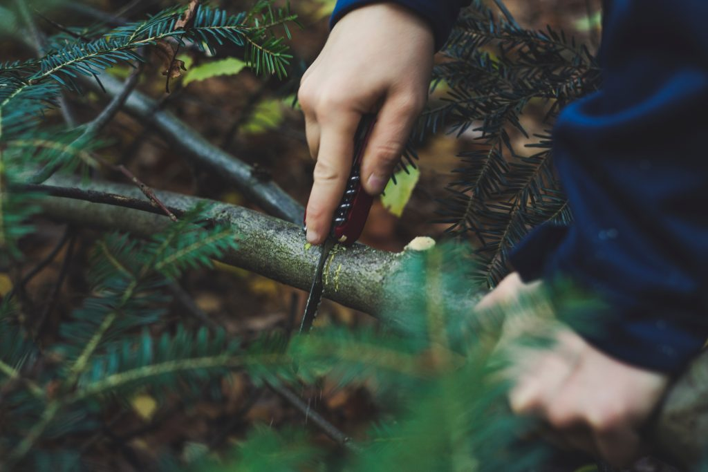 Imagem mostra uma mão cortando um galho grosso com um canivete com faca de serra.