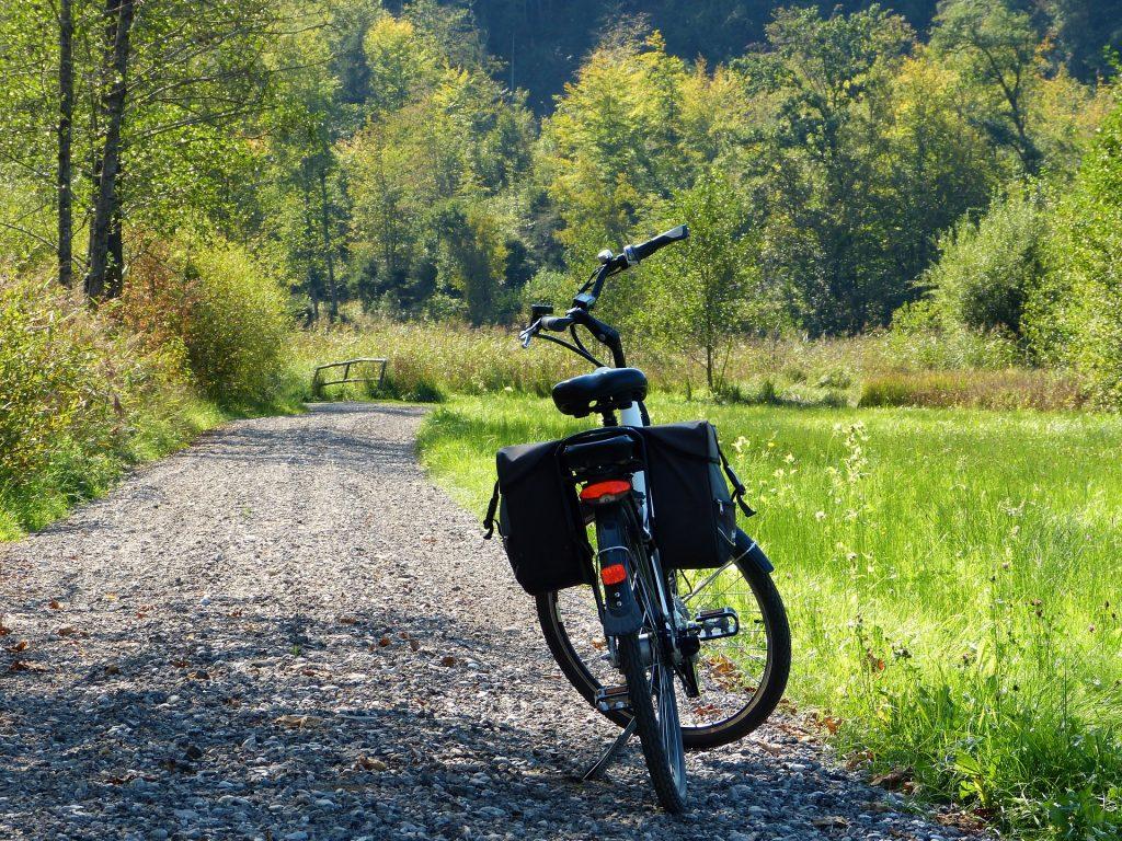 Bicicleta com alforje traseiro parada em estrada na mata