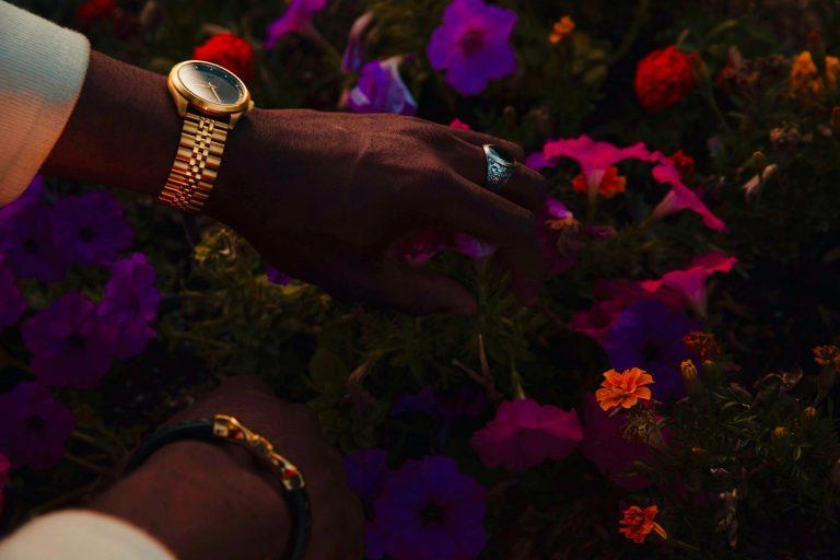 Imagem mostra as mãos de um homem mexendo em flores e plantas de um campo. A mão esquerda tem um relógio de ouro no pulso e um anel de prata no dedo.