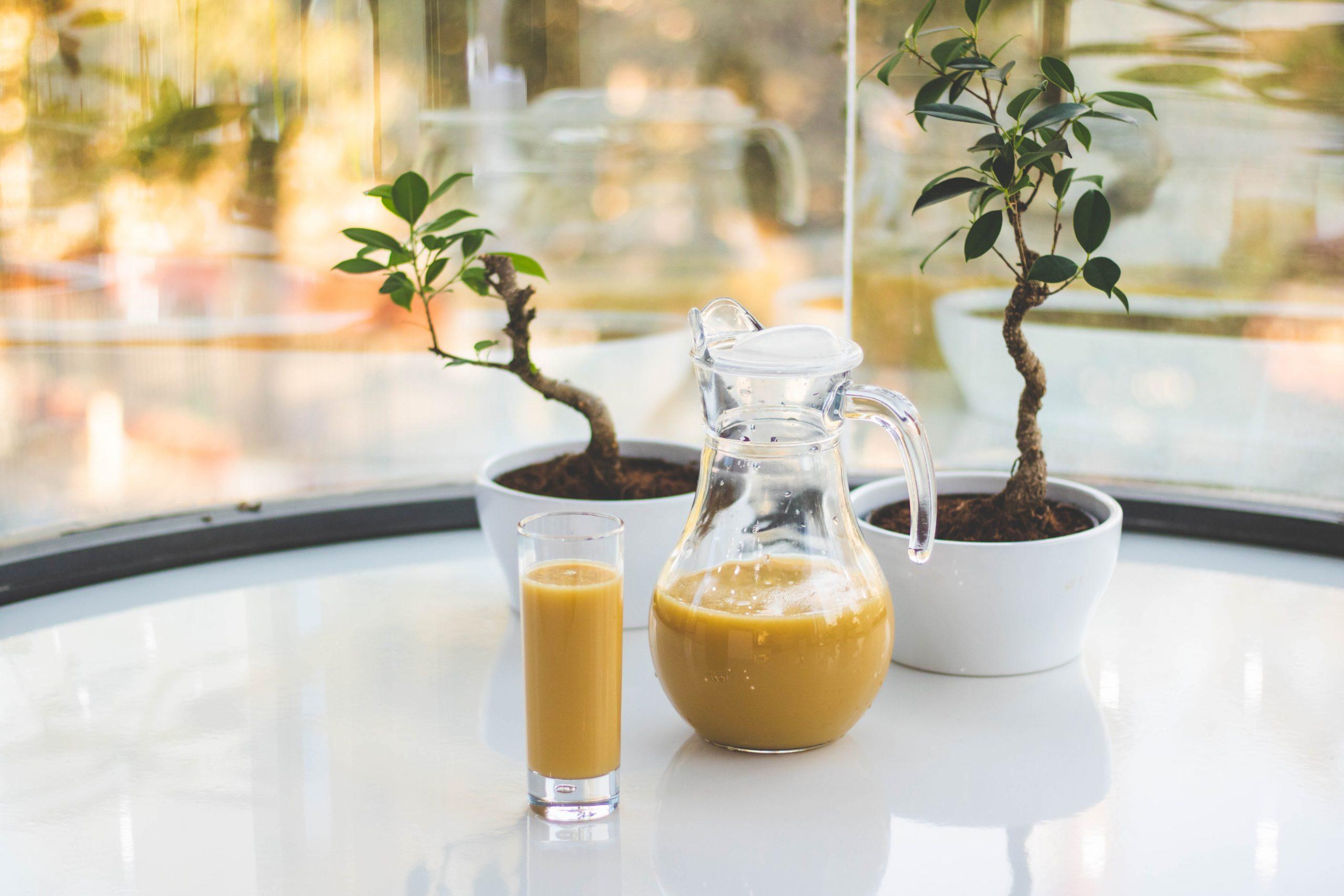 Na foto uma jarra com suco ao lado de um copo em frente a dois vasos de planta em cima de uma mesa.