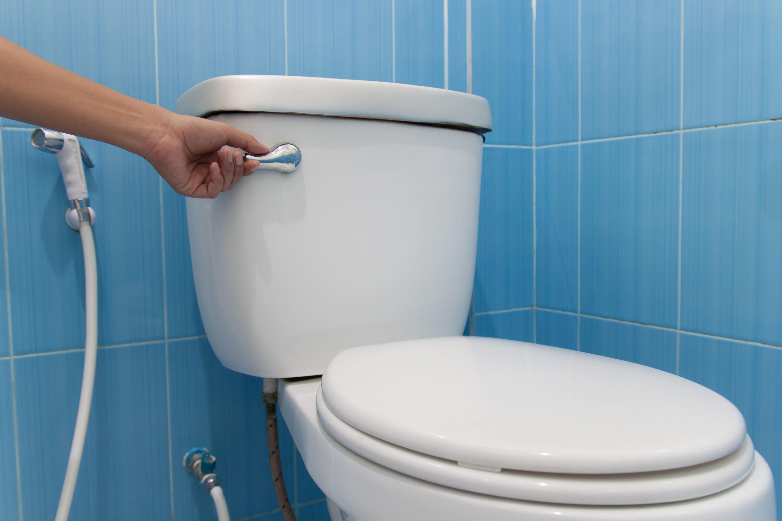 Imagem de pessoa acionando uma válvula de descarga acoplada