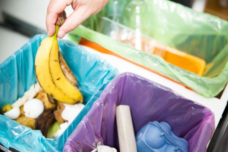 Imagem de pessoa descartando lixo orgânico em uma lixeira de cozinha