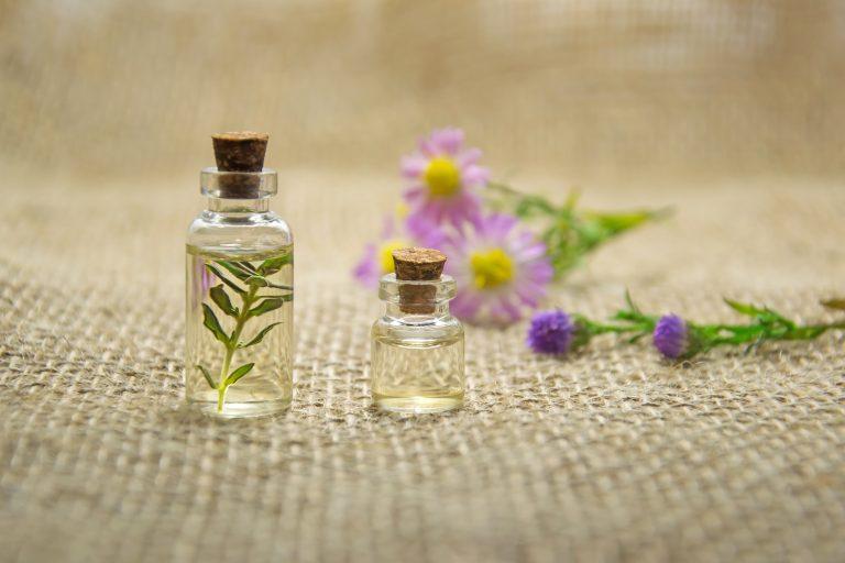 Foto de dois pequenos vidros, um menor que o outro, contendo um líquido que se assemelha com alguma fragrância. O vidro maior contém um ramo em seu interior. Ao fundo, flores em tons de rosa, roxa e amarelo.