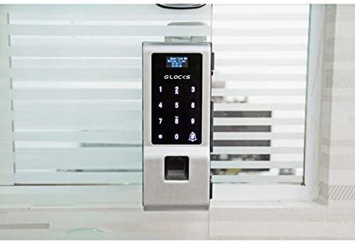 Fechadura biométrica instalada em porta de vidro.