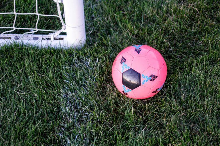 Imagem mostra uma mini bola de borracha parada sobre um gramado alto. Ao seu lado estão o pé de uma trave e uma desgastada linha de cal, marcando a linha de fundo.