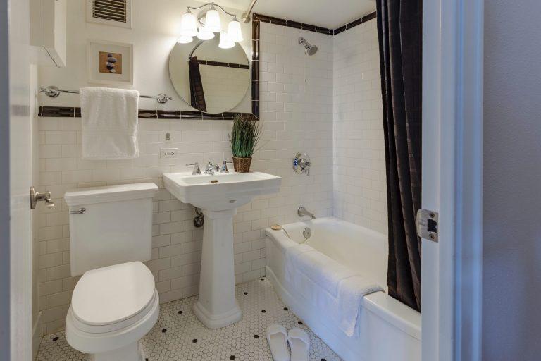 Imagem de banheiro com destaque para o vaso sanitário com válvula acoplada