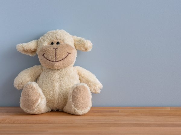 Fotode um urso de pelúcia sorridente em tons de bege, em cima de uma superfície de madeira, e encostado em uma parede azul.