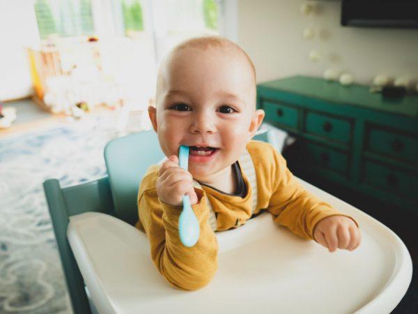 Imagem de um bebê em uma cadeira de alimentação.