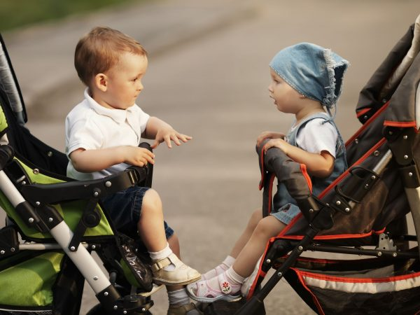 Dois carrinhos de bebê de frente um para o outro com crianças dentro se olhando.